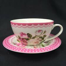 Tea Cup and Saucer Set -pink Floral- Bone China Capacity 330cc