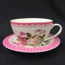 Tea Cup and Saucer Set -Pink Floral- New Bone China Capacity 330cc