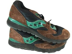 SAUCONY SUEDE TRAINERS MEN'S SHOES SNEAKERS Brown/GREEN XT600 XT 600  Size 9