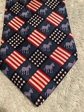 Men's RALPH MARLIN demócrata Corbata Corbata De Seda Azul Formal Rara América Bandera de Estados Unidos