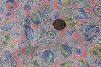 "Vintage Floral Batiste Pink Dress Yardage Cotton Fabric c1940~L-81""X W-36"""