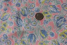 """Vintage Floral Batiste Never Used Dress Yardage Cotton Fabric c1940~Pink~2yds9""""L"""