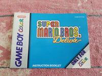 Super Mario Bros Deluxe - Authentic - Nintendo Game Boy Color - Manual Only!