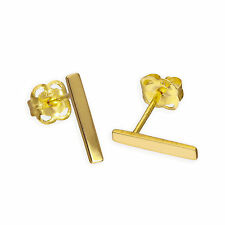 Real 375 9ct Gold Bar Stud Earrings Line Stick Block Studs Earrings Plain Simple