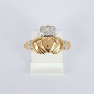 Bee Jewellery 25116 (B24) 9K Gold Diamond Crowned Claddagh Ring Size P RRP $429
