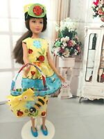 OOAK HANDMADE DOLL CLOTHES FOR SKIPPER DOLL LADY BUG PRINT DRESS SET CLOTHES