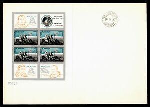 DR WHO 1971 ROMANIA FDC SPACE APOLLO 15 IMPERF SHEET BOOKET PANE? Lf95954