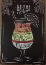 COCKTAILS Bahama Mama Rustic Vintage Metal Tin Sign Man Cave, Shed & Bar Sign