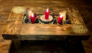 Reclaimed Rustic Oak Sleeper Coffee Table W/ Candle Pit and Custom Pyrography