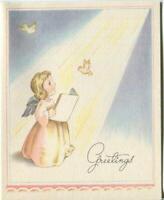 VINTAGE CHRISTMAS ANGEL PINK DRESS BLUE WINGS DOVES HEAVEN SUNBEAM GREETING CARD