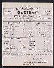"LYON (69) FRUITS / AGRUMES ""GARIDOU"" en 1886"