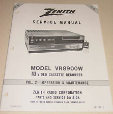 Zenith Service Manual Vol 2 for Beta VCR VR8900W Video Cassette Recorder USA