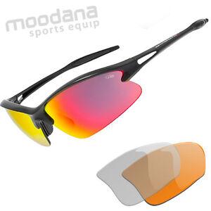 Radbrille Sportbrille mit 3 Wechselscheiben Goggle E877-2 schmal