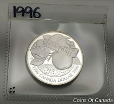 1996 Canada Silver Dollar UNCIRCULATED PROOF Coin McIntosh Apple #coinsofcanada