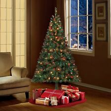 Beautiful Pre-Lit 6.5' Artificial Christmas Tree Madison Pine Green Multi-Lights