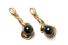 9ct Gold Fancy Hematite dangly drop earrings Made in UK Gift Boxed