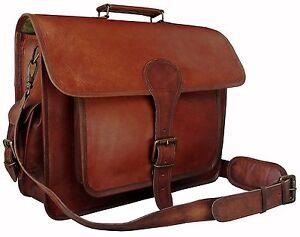 Men Handmade Vintage Large Brown leather messenger briefcase laptop shoulder bag