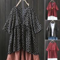 ZANZEA Women Summer Polka Dot Top T Shirt Tee Retro Plus Size Button Up Blouse