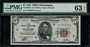 1929 $5 Federal Reserve Bank Note Philadelphia - FR.1850-C - Graded PMG 63 EPQ