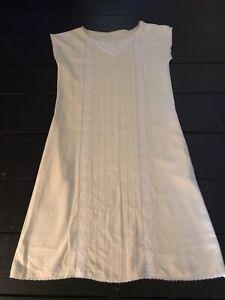 vintage silk Lace Ivory Cream A Line Mid Length Cap Sleeve Tunic Shift Dress