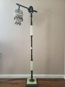 Vintage Jadeite Floor Lamp - Bridge Lamp with Custom Beaded Shade