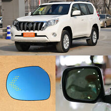Rearview Mirror Blue Glasses LED Turn Signal with Power Heating For Toyota Prado