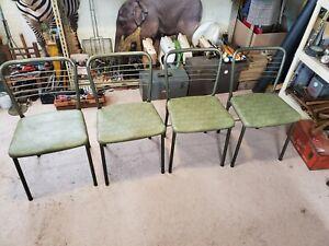 4 Vintage Green Cosco Hamilton Gate Leg Folding Chairs