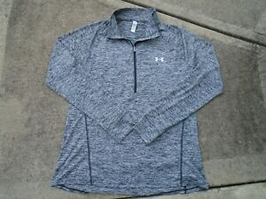 Womens Under Armour gray stretch 1/4 zip activewear Gym jacket sz XL