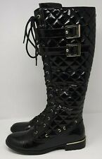 Ladies Faux Patent Quilted Ornate Riding Boots UK 7 Black Flat Laced Up Buckles