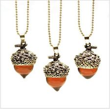 new Silver /Gold Plated Water Drop Suspension Glass Acorn Oak Pendant Necklace