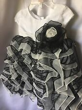 Isobella and Chloe Girls Black And White Ruffled Tiered Dress Size 18M- New