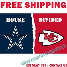 Dallas Cowboys vs Kansas City Chiefs House Divided Flag Banner 3x5 ft 2021 NEW