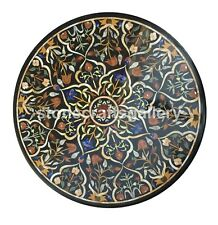 "38"" Marble Round Dining Table Top Precious Floral Inlay Occasional Decors B129A"