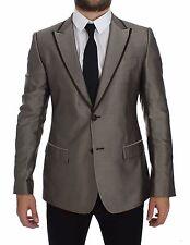 NWT $2400 DOLCE & GABBANA Brown Slim Fit Silk Two Button Blazer Coat IT44 / US34