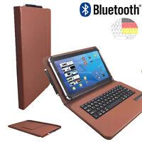 """Bluetooth Tastatur Tasche fur SAMSUNG TAB A SM-T585NZWA LTE Hulle 10.1"""" Braun"""