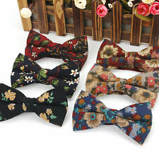Lot 6 Packs Men's Bow Tie Cotton Bowtie Vintage Flower Adjustable Butterfly Gift