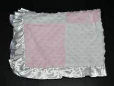 Just One Year Caters Baby Blanket Pink White Patchwork Minky Dots Satin Ruffle