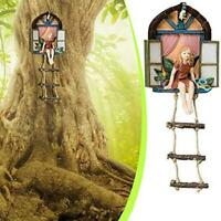 Bits And Pieces - Fairy House With Ladder Hanging Tree Tree Sculpture - H7E0
