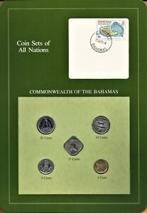 Coin Sets of All Nations Bahamas 1969-1984 Franklin Mint - 5 BU Coins