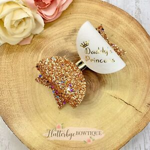 Personalised Daddy's Princess Hair Bow Clip, Daddy's Girl Glitter bow