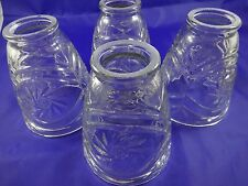 """4 Vintage Clear Cut Glass Light Lamp Shades 2"""" Fitters, 5"""" x 3 3/4"""""""