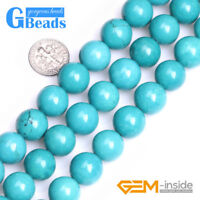 """Stablized Blue Turquoise Gemstone Round Beads Free Shipping 15"""" 4mm 6mm 8mm 10mm"""