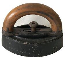 Antique Primitive Farm Fireplace Cast-Iron Detachable Wood Handled Clothes Iron