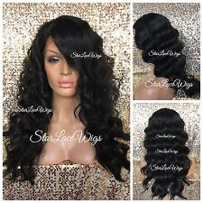 Human Hair Blend Body Wave Curly Lace Front Wig Long Off Black 1b Heat Safe Ok