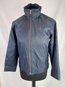 Ralph Lauren Navy Jacket Boys Age 12-14 Years Fleece Lining Hidden Hood K397