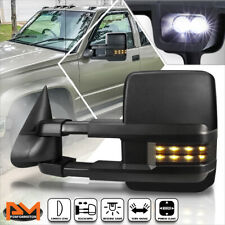 For 88-02 Chevy/GMC C/K Truck Power Black Towing Mirror w/Smoked LED Lamp Left
