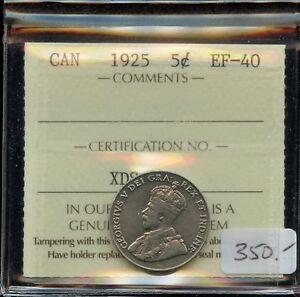 1925 Canada Five Cents Cent - ICCS EF-40
