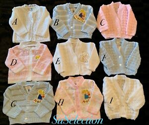 GORGEOUS BABY BOY GIRL WHITE/PINK/BLUE CARDIGAN 0/3-3/6-6/9 MONTHS- NEW