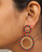 Indian Pink Green New Design Gold Jhumka Earrings Ethnic Wedding Jewelry Set