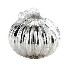 """New 7"""" Hand Blown Art Glass Mercury Silver Pumpkin Sculpture Figurine Fall"""
